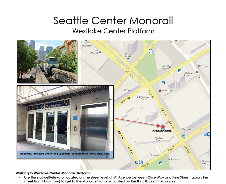 Westlake Monorail Entrance 5th Avenue for when the Mall is closed