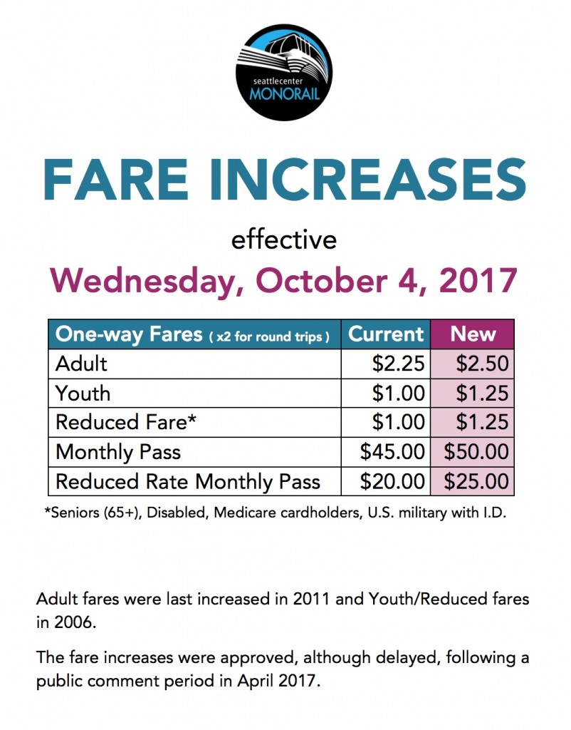 October 2017 Fare Increase Flyer Monorail