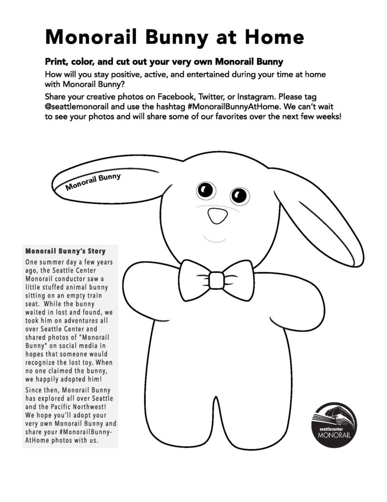 Monorail Bunny at Home Coloring Page