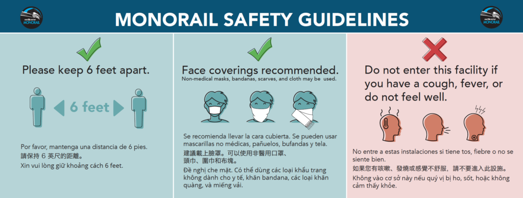 safety signage emphasizing staying 6 feet apart from others, wearing a face covering, and to not enter facilities if you are sick